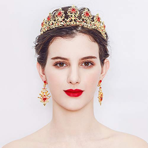 Monai Vintage Crystal Tiara Baroque Queen Crowns,Hair Jewelry with Gemstones for Women Ladies Girls,Rhinestones Birthday Wedding Pageant Luxury Retro Bridal Princess Headband (baroque-red)