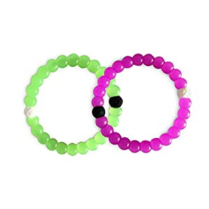 Perfect Balance Transparent Silicone Beaded Bracelet Medium (Set of 2)- Purple and Green