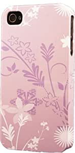 Purple Floral Pattern Dimensional Case Fits Apple iPhone 4 or iPhone 4s