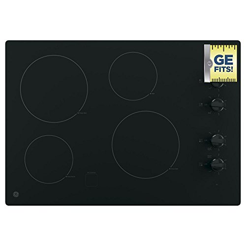 GE JP3030DJBB 30 Inch Smoothtop Electric Cooktop with 4 Radiant Elements, Knob Controls, Keep Warm Melt Setting