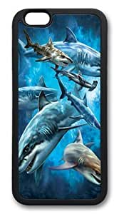 DaojieTM Generic Iphone 6 Plus Case, Iphone 6 Plus Cases -Shark Collage Hard Plastic Shell Case Cover for Iphone 6 4.7 Inch Black