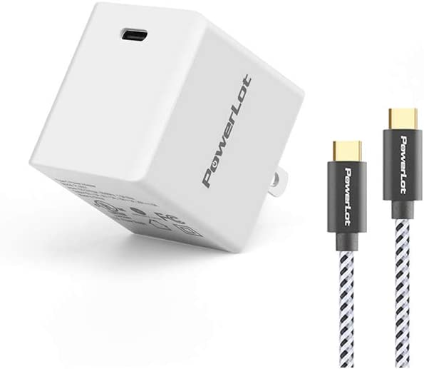 USB C Charger, PowerLot 30W GaN Tech Charger, PD 3.0 Type C Fast Wall Charger Portable for iPad Pro 2020,MacBook Air, iPhone 11 Pro, Galaxy S10 and More …