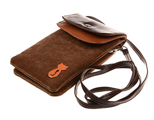 Bronze Times Universale Handytasche Geldbeutel Sportstasche mit Katze Fußabdruck und Handschlaufe Braun