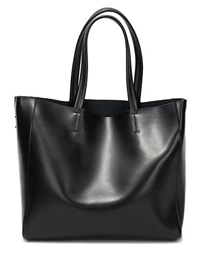 Covelin Women's Handbag Genuine Soft Leather Tote Shoulder Bag Hot Black ()