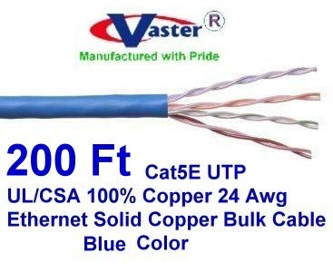 24AWG 350 MHz 8C Solid Bare Copper UTP Blue Cat5e 200ft UL -CSA Bulk Ethernet Cable
