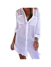 442a776c9b162 JTAISC Women Plain Half/Long Sleeve Swimsuit Cover Up Shirt Mini Beach Dress