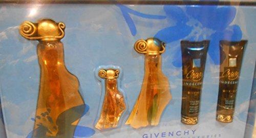 Givenchy Organza Indecence Gift Set 5pc Spray Parfum, Miniature Dab,Perfumed Brilliant Body Veil, & Perfumed Sensual Bath Gel