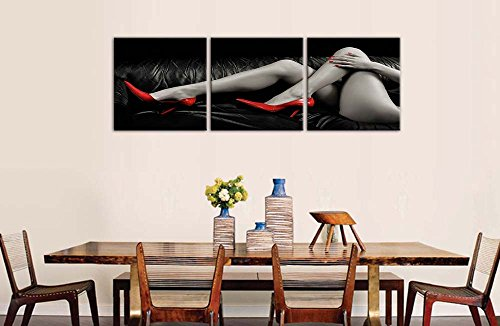Canvas Prints Wall Art Pictures Bottocks Thigh Nude-Photo Woman Red High-Heeled Shoes In Black And White 3 Pieces Panel Modern Framed Artwork Thes For Bedroom Decor Nude Photo On Canvas