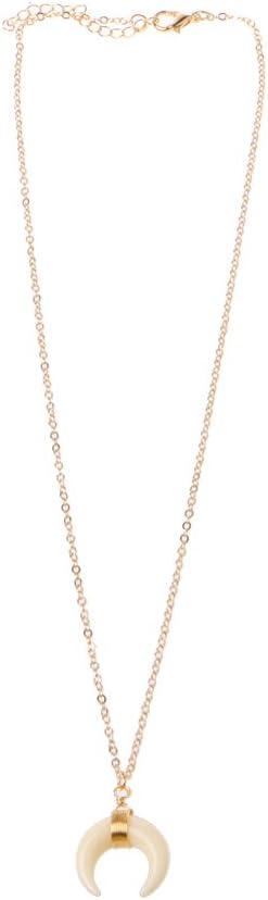 niumanery - Collar Doble con Colgante de Cuerno Cruzado, para Mujer, Color Marfil