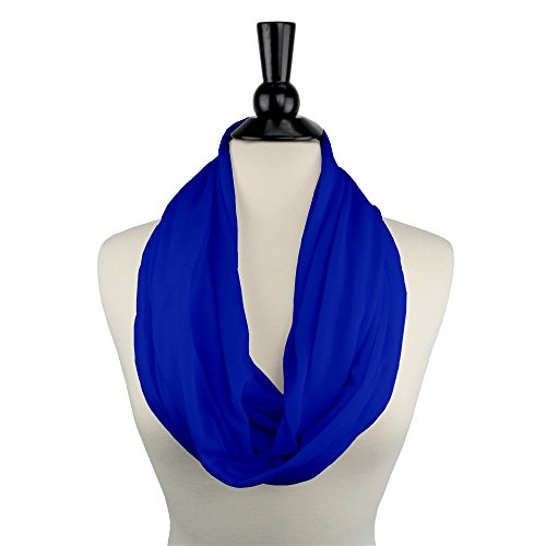 Price comparison product image Solid Color Infinity Scarf for Women with White Zipper Storage Pocket - Pop Fashion (Royal Blue)