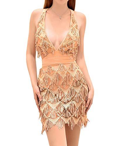BYSBZD Womens Sequin Shimmer Beaded Fringes V-Neck Open Back Prom Dresses Gold L