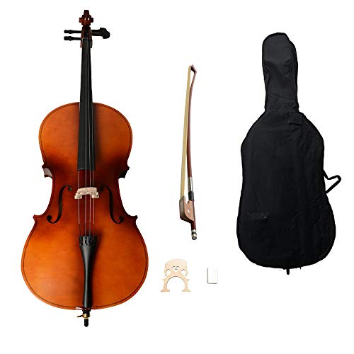4/4 Acoustic Cello + Case + Bow + Rosin Wood Color Beautiful Varnish Finishing (Matte Natural) best to buy