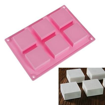 Romote 6 Plaza de la cavidad rectangular de bricolaje jabón molde de gelatina torta de hielo