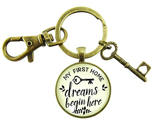 (My First Home Keychain Dreams Begin Here Homeowner Home Buyers Gift Vintage Hipster Style Glass Pendant Key Charm)