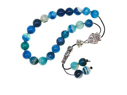 A2-0130 - Greek Prayer Worry Beads Greek Komboloi 10mm Blue Agate Gemstone Beads Handmade by Jeannieparnell ()