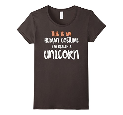 Womens Funny Human Constume Unicorn T-Shirt Large Asphalt - Halloween Constumes