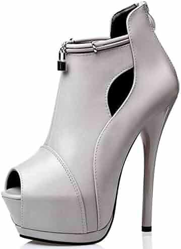 02d2a8699d Summerwhisper Women's Sexy Peep Toe Back Zipper Pumps Stiletto Extreme High  Heel Platform Ankle Boots