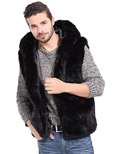 Idopy Men`s Luxury Faux Fur Hoodie Coats Sleeveless Jacket Vest with Hood (US S(tag L), Black)