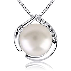 B.Catcher Silver Necklace for Women Fine Jewellery 925 Sterling Silver Cubic Zirconia Freshwater Pearl Nekclaces