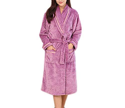 Hotel Camisones Chal Noche Impresión Mangas Baño Cashmere Lujo Pijama Coral Franela De Betrothales Púrpura Hombres Señoras Largas Pijamas Purple Ropa Ducha Robe Cuello 0wgH8q