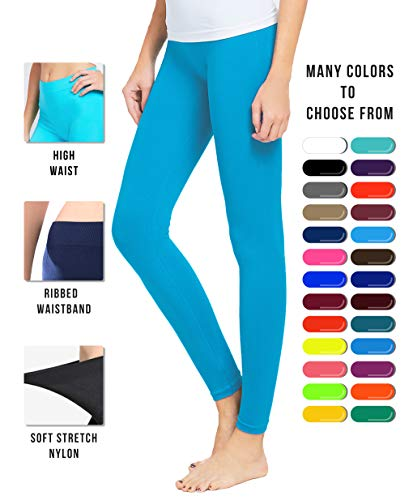 Basic Solid Full Length Seamless Leggings for Women High Waisted Footless Tights - Nylon Premium Quality Plus Size Available