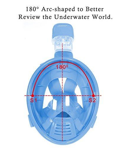 - OYE HOYE Snorkel Mask, Full Face Snorkel Mask 180 Degree Panoramic View, Anti-Fog, Anti-Leak Snorkeling Mask,Easy Breathing Diving Mask Prevent Gag Reflex Tubeless Technology