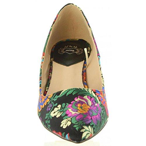 Tacón 57590 Mustang Bordado Floral Negro Print Zapato 6wCHqFF