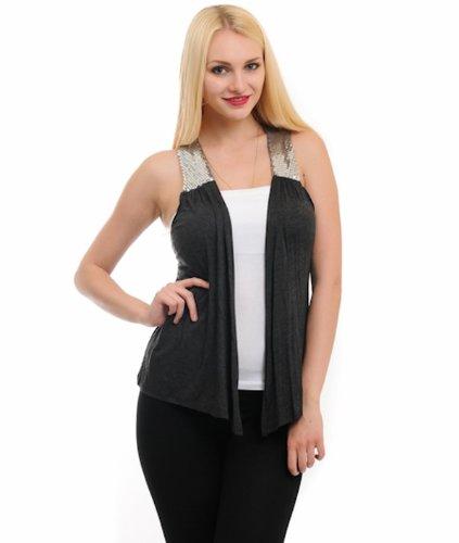 G2 Chic Women's Open Front Vest with Sequin Details
