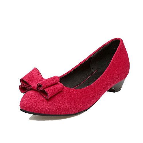 Légeres Rond Fibre Bas Rouge Femme VogueZone009 à Tire Chaussures Super Talon qRZxwTO