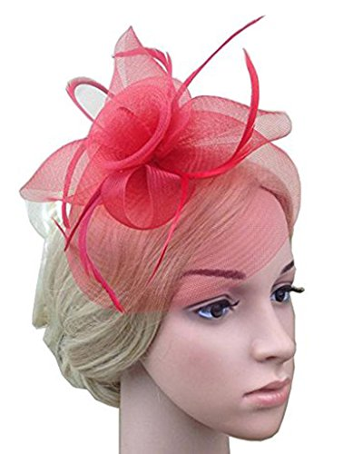 VaniaDress Women Bow Flower Veil Bridal Cocktail Party Fascinator Hair Clip Hat V003TS Red