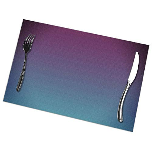 - Efo99ec Mulberry Purple Blue Teal Fade Supper Mats Set of 6,Heat Insulation Non Slip Placemats,Washable Easy to Clean Family Kitchen Place-mat for Dining Table (6pcs placemats)