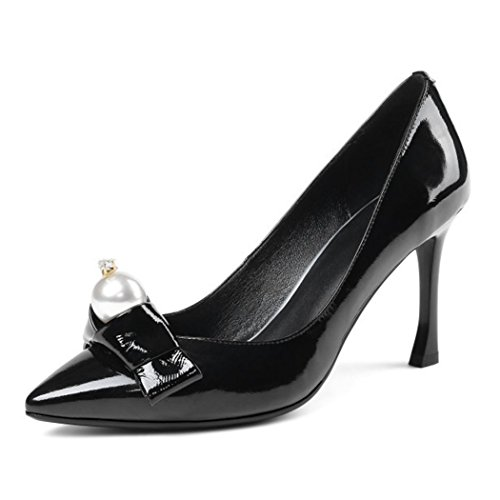 Party Pumps Black Caramel GAOLIXIA Heels Shoes Ladies Pointed High Leather Womens Size Contrast Genuine Black Court Smart Work fpA6WfRq