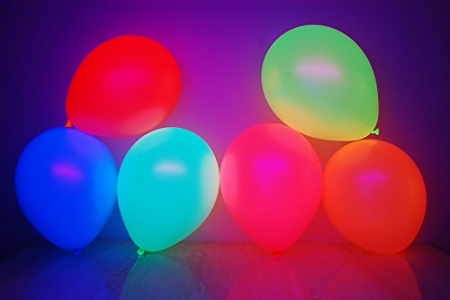 DirectGlow Brand Set of 25 Assorted 11 inch UV Blacklight Reactive Latex Balloons (6 Color Mix)