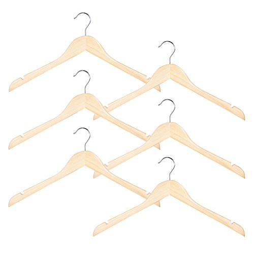 Wood Shirt And Dress Clothes Hangers, Set of 6, Natural Wood Color