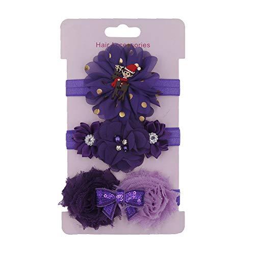 (Zohto Valentine's Day 3Pcs Kids Headband Girls Baby Elastic Bowknot Accessories Hairband Christmas Set)