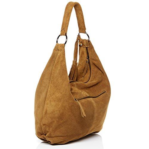 2e62aa90a65b5 ... BACCINI® Beuteltasche SELINA - Damen Schultertasche groß Ledertasche - Hobo  Bag mit Fransen Damentasche echt ...