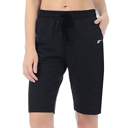 EZRUN Women's Lounge Bermuda Shorts Workout Activewear Jogger Gym Yoga Sweat Shorts with Pockets(Black,XL) ()