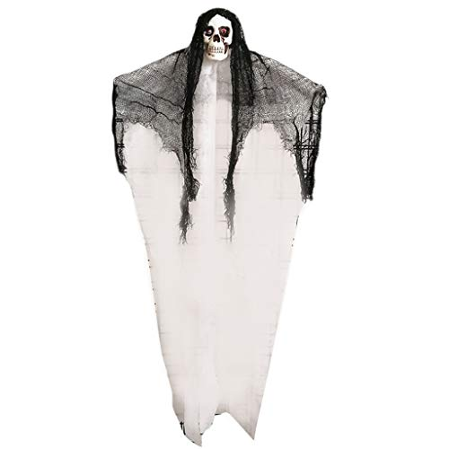 Hardli Halloween Hanging Skull Ghost with Cape, Haunted House Decoration Props,100x50cm White]()