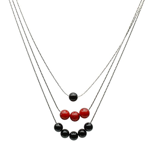 3-Strand Black Onyx, Red Bamboo Coral Sterling Silver Chain Necklace 16