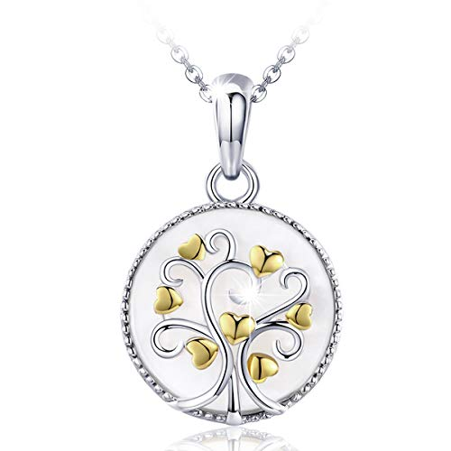 SIMPLOVE Tree of Life Pendant Necklace for Women, 925 Sterling Silver Family Tree Symbol Round Love Heart Pendant Necklace