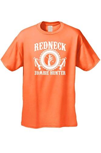 SHORE TRENDZ Men's/Unisex Redneck Zombie Hunter Short Sleeve T-Shirt Orange (3XL) -