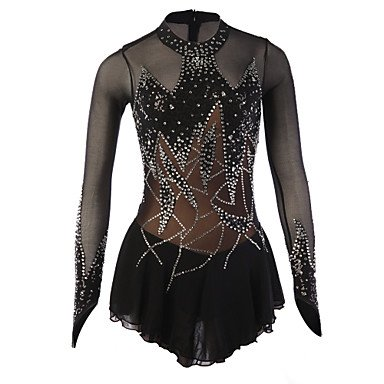 Skating Queen Figure Skating Dress for Women Girls Ice Skating Competition Performance Costume Rhinestone Zipper Spandex Elastic Stretchy Skating Wear Long Sleeves Black, M (Figure Skating Best Performances)