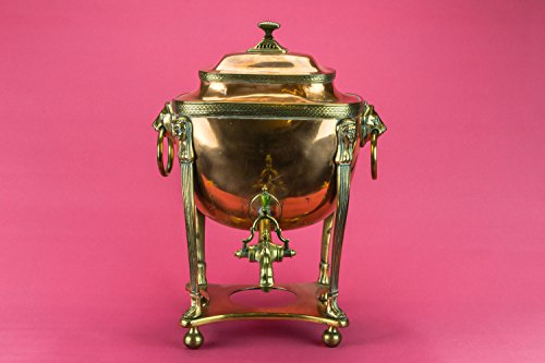 Antique Lion Masks Copper Old Hot Water Urn Samovar Neo-classical Large Early 1800s English LS