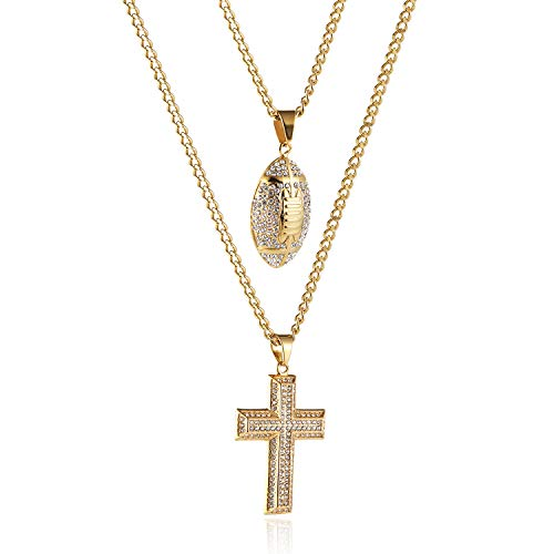 Mens Two Piece Gold Cross & Football Set Cz Inlay Pendant Necklace Hip Hop 22