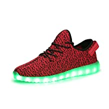 Wawoo Unisex LED Flashing Luminous Shoes Adults for Men and Women, 7 Colors Changing Led Fashion Sneakers Sports Shoes, USB Charging Colorful Glowing
