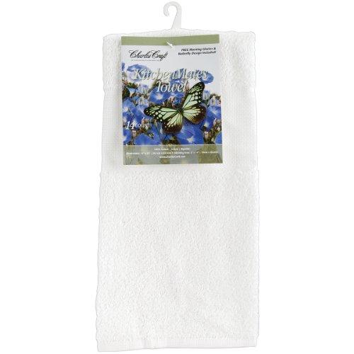 Charles Craft TT6075-6750 Kitchen Mates Hemmed Towel, White, 15 by 25-Inch