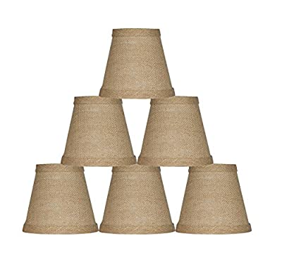 Urbanest Chandelier Lamp Shade, Hardback, Clip On, Burlap