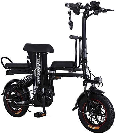 ZZKK Bicicleta eléctrica Batería de Litio Recorrido Coche Plegable Batería Doble Mini Scooter 12 Pulgadas 350 W 250 Kg Cargas de Tres plazas con cojinete de Carga Juntos