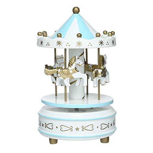 - Aparts Hand-painted Wooden Carousel Music Box Merry-Go-Round Horse Music Box Kids Children Girls Christmas Birthday Gift Toy Wedding Decor (Snow Blue)