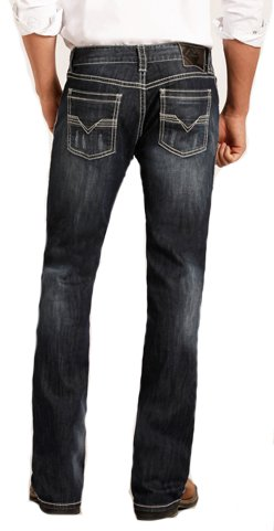 Rock & Roll Denim Men's Relaxed Fit Reflex Pistol Straight Leg Mid Wash Western Jeans (42x32)